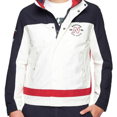 LBANAU1_NAUTICA_Men's_Clrblk_Back_Logo_Jacket_White_Navy_Red_Front