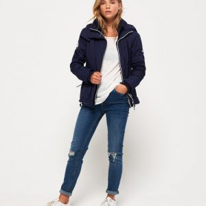 LBASUP19_SUPERDRY_Women's_Arctic_Hooded_Pop_Zip_Windcheater_Blue_Main