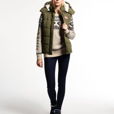 LBASUP26_SUPERDRY_Women's_Super_Academy_Gilet_Green_Front_Main