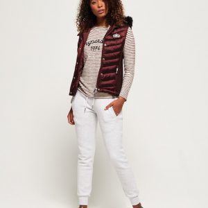 LBASUP31_SUPERDRY_Women's_Luxe_Chevron_Double_Zip_Vest_Deep_Ruby_Front_Main